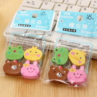 Wholesale Pupils Supplies Children Gifts Cute Cartoon Animal Eraser Learning Creative Stationery a Bag of