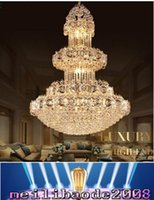 Wholesale Projects Construction - Luxurious led crystal chandelier large pendant crystal chandeliers light for hotel lobby double floor living room construction project MYY