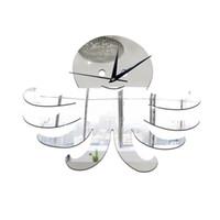 Wholesale wall clock decorative mirror - 2016 New DIY Living Room Decorative Wall Sticker Clock DIY Acrylic Mirror Wall Clock Octopuses Creative Gift Art Watch Free Shipping