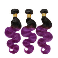 Wholesale two toned purple hair weave resale online - T1b Purple Ombre Hair Weaves Bundles Two Tone Body Wave Brazilian Peruvian Indian Malaysian Virgin Human Hair Extensions