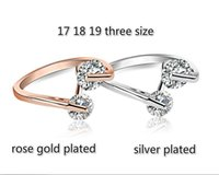 Wholesale Couples Ring Sets Cheap - new cheap price best quality 6pc lot simply white zirconia copper ring for couple and lover 17 18 19 three size rose gold and silver plated