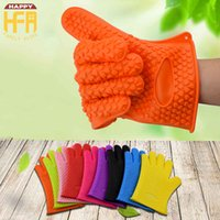 Wholesale Silicone Oven Gloves Fingers - Silicon Oven Glove Five Finger Glove Thickened Heat Resistant Silicone Insulated Gloves Microwave Oven Gloves Thickening Non Slip Per Piece