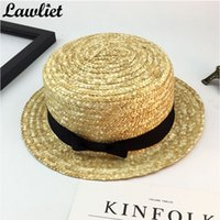 Wholesale Brim Straw Hat Natural - Wholesale- Women Summer Street Hats Wide Brim Sun Hats Natural Bow Design Beach Panama Straw Hats Ladies Summer Casual Cap Y49