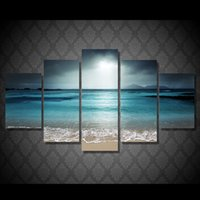 Wholesale Sea Poster Landscape - 5 Pcs Set No Framed HD Printed beach ocean sea sunset Painting Canvas Print room decor print poster picture canvas abstract paintings