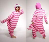 Wholesale Cheshire Cat Costumes - Wholesale-Free shipping New Winter Unisex Adult Pajamas Cosplay Costume Animal Nightwear Onesie Sleepwear Cheshire Cat