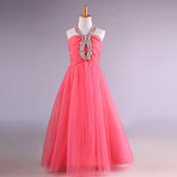 Wholesale real father christmas - Halter Neck Long Tulle Flower Girls Dresses 2018 Beaded Communion Dress Floor Length Kids Evening Gowns