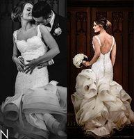 Wholesale Stylish Bridal Dresses - Stylish Lace 2016 Arabic Wedding Dresses Spaghetti Beaded Mermaid Backless Bridal Dresses Sexy Tiers Satin Wedding Gowns