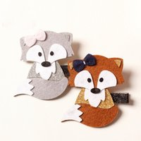 Wholesale Wholesale Silk Fiber - 2016 New Sweet Kids Girls Fox Hairpin Headbands Woodland Cartoon Hair Clip Brown and Gray Color Double wear Design