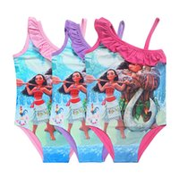 Wholesale Swimwear Clothes - Moana Bikini Movie Moana Kids Summer Beach One-piece Swimsuits Shoulder Sling Swimwear Girls Bikini Beach Swimming Clothes 3003199