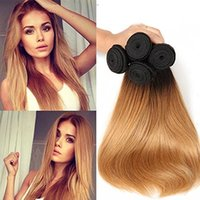 Brazilian Straight Human Hair Tece Ombre T1b / 27 Honey Blonde Two Tone Color Full Head 3pcs / lot Double Wefts Remy Hair Extensions