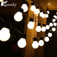 Atacado- Konesky US Plug Beads 5m Long Cable 20-LED Decorativo String Lights Bulbs Waterproof Globe Ball Fairy Lights for Party Bedroom