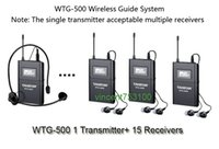 Wholesale Uhf Voice - Hot sale Takstar WTG-500 1 Transmitter+ 15Receivers +MIC+earphone UHF Wireless tour guide system voice device teaching earphones