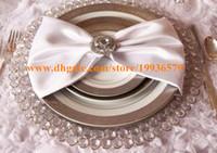 plattenladegeräte großhandel-Großhandel 33cm Runde Gold Silber Glas Crytal Perlen Ladegerät Platte Hochzeit Tischdekoration