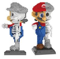 красный кирпич оптовых-Новый создатель Алмаз половина красный Марио блоки половина белый skelekon кирпичи дети DIY развивающие игрушки для подарка #7807