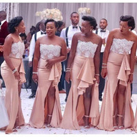 Wholesale Strapless Bridesmaid Gown Lace - 2018 Country Nigerian Bridesmaid Dresses Strapless Lace Mermaid Maid of Honor Gowns Split Side Long Summer Wedding Guest Dresses
