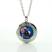 Wholesale Vintage Friendship - Vintage best gift for friendship locket necklace sport rugby jewelry football glass cabochon accessory for men NF025