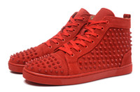 2016 New Cheap men women red Suede high top Com Spikes rivets vermelho bottom sneakers Lovers Designer de luxo couro genuíno bottoms sapato de fundo
