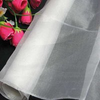 Wholesale Dressmaking Silk - 100% pure silk organza fabric bright white dressmaking sewing material cloth for dress for bridal dresses by the meter (1 yard 3 inch)