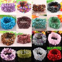 Wholesale Turquoise Stone Chip Beads - 19 Kinds of Stone Turquoise Garnet Coral Opal Chip Beads Stretch Bracelet Bangle
