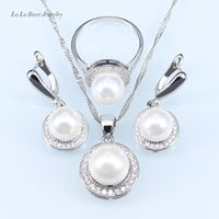 Wholesale Ball Chain Earrings - L&B New circles Freshwater pearl ball pendant long necklace women black chain fashion 925 Stamp silver Color jewelry sets