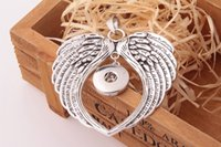 Wholesale Metal Charms Wing - metal ginger snap button jewelry boho wings pendant Necklace for women (fit 18mm snaps) men's Vintage accessories