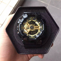 Wholesale Stainless Watches Rubber - 2017 New Shock Digital LED Men Quartz Sports Watch Strap Rubber Army Military Quartz-watch Clock Waterproof Wrist Men's Relogio Masculino