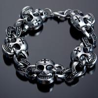 Wholesale Skull Link Bracelet - Factory Direct Fashion Jewelry Antique Cross Skull Charm Bracelet Alloy Bracelet Punk Bracelet For Christmas Gift Wholesale Price