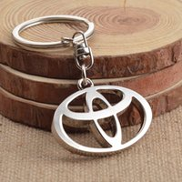 Wholesale Toyota Hiace Wholesale - Wholesale 3D Metal Emblem Car Logo Key chain Ring Holder For TOYOTA REIZ PRADO COROLLA VIOS Highlander Camrys HIACE LANDCRUISER ALRHARD VIGO