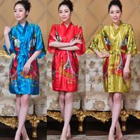 Wholesale Lingerie Hot Japanese - Wholesale- Hot New Red Japanese Women Kimono Bath Gown Mini Silk Sleepwear Sexy Lingerie Bridesmaid Wedding Robe S M L XL XXL XXXL 010647