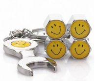 Wholesale Mini Car Wheel Keychain - Car Wheel Tire Valve Caps with Mini Wrench & Keychain Tire Valve Covers With Smile Expression wrench valve caps
