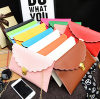 Wholesale Plum Clutch Bags - Sell like hot cakes Women Fashion scalloped edges envelope clutch bag lady shoulder bags with chain Handbag Tote Bag christmas