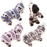 Wholesale Spring Male Outfits - Dog Clothes Coat Fleece Warm Pet Cat Sweater Hoodie Puppy Jumpsuit Clothes Teddy Chihuahua Outfits Deer Patterns