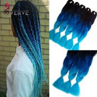 Wholesale Expressions Braiding Hair - wholesale blue braiding hair High Temperature Fiber Box Synthetic Braiding Hair 100g piece expression braiding hair extensions