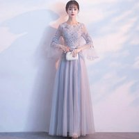 Wholesale Korean Winter Fashion Picture - New fashion banquet long elegant Korean version autumn winter long sleeved Bridesmaid prom party evening dress--10