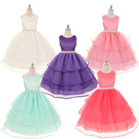 Wholesale Formal Dress Beige Beaded - Girls Pageant Dress Formal Kids Party Prom Ball Gowns Summer Style Sleeveless Bowknot Layer Dresses 90-150CM