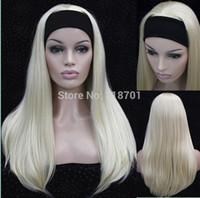 sentetik saç kafa bantları toptan satış-Toptan-Yarım peruk 3/4 peruk Ile kafa Uzun Düz Sarışın Sentetik Saç Peruk sizin için 9 renk Ücretsiz nakliye seçin