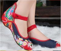 Wholesale Satin Wedding Shoes Wedge - Us size: 5-9.5 New Women Shoes, Old Beijing Mary Jane Flats With Casual Shoes, Chinese Style Embroidered Cloth shoes woman