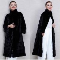 Wholesale Women S Faux Mink Coat - 2017 New Winter Womens Outwear Long Sleeve Faux Mink Fur Coat Long Overcoat Black Women Jacket Plus Size S-4XL Costumize