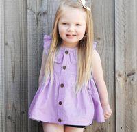4c84ba2f04ad 2017 Baby Girls Dresses Solid Lotus Collar Cardigan Cotton Purple  Beautifully Princess Kids Dress Baby Girl Clothes Children Clothing