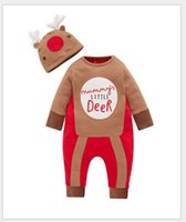 Wholesale Jumpsuits Two Colors - 2016 Spring Autumn Infant Cartoon Deer Rompers Toddler Baby Long Sleeve Jumpsuits With Hat Newborn 100% Cotton Onesies One-Piece Two Colors