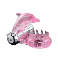 сексуальный игрушечный дельфиновый массажер оптовых-12 Частота Вибрации Vibe Вибратор Массажер Секс-Игрушки Кольцо Пениса Дельфин Дизайн # R410