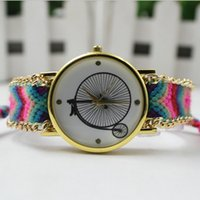 Wholesale Red Bicycle Fabric - 2016 Bicycle Dial Wristwatch Women Handmade Braided Friendship Bracelet Watch New arrival Ladies Quartz Gold Dress Watch 12 Colors
