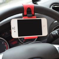 iphone 5c t mobile оптовых-Держатель рулевого колеса автомобиля эластичный дизайн держатель мобильного телефона стенд для iPhone 4S 5 5S 5C смартфон GPS MP4 PDA - случайный цвет порядка$18no t