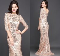 Wholesale Gold Sequin Dress Full Length - 2018 Special Design Rose Gold Designer Occasion Dresses Mermaid Long Sleeves Full Sequins Lace Evening Dress Luxury Prom Party Gowns CPS634