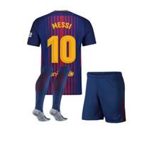 Wholesale Name Boy Shirt - Perfect 17 18 kids soccer jerseys boy football shirts shorts child soccer uniforms custmize name number soccer set shirts+shorts+socks