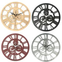 Wholesale Wall Set Art Wood - Wholesale- New Arrival High Quality Large Handmade Wall Clock Rustic Art Big Gear Wood Vintage Home Decor Gift 32cm