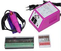 nagelbohrer eu großhandel-Professionelle rosa elektrische Nagel-Bohrgerät-Maniküre-Maschine mit Bohrern 110v-240V (EU-Stecker) bedienungsfreundliches freies Verschiffen
