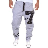 Wholesale Casual Baggy Trousers Men - Wholesale-PKORLI Brand Harem Pants Men Casual Letters Printed Baggy Sweat Pants Mens Joggers Sport Trousers Loose Sweatpants Sarouel