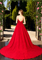 Wholesale Dress Embellishments - red lace wedding dresses 2017 princess wedding gowns spagetti strap sweetheart neckline full embellishment romantic a line bridal gowns