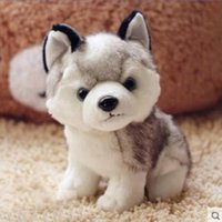 Wholesale Toy Huskies Plush - 18cm Genuine Husky Plush Toys Cute Soft Animal Dog Toys Doll Creative Gift for kids Birthday Gift